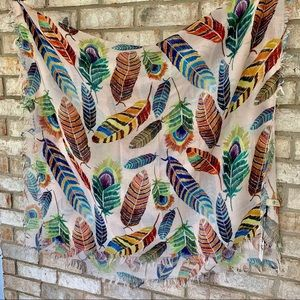 Feather Pattern 100% Cotton Neck Or Head Scarf